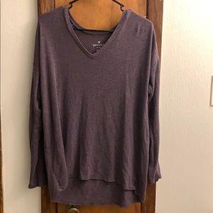 AEO knit shoulder v-neck tee
